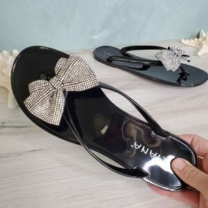 NEW Jelly Black Bow Sandals